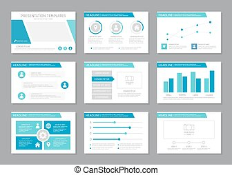 Set of blue template for multipurpose presentation slides with graphs and charts. Leaflet, annual report, book cover design.