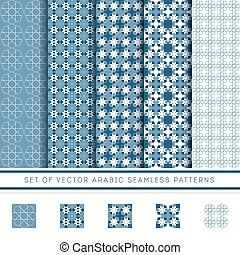 set of blue vector arabic pattern