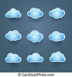 Set of blue vector cloud icons - Set of nine different blue...