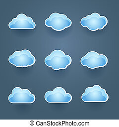 Set of blue vector cloud icons - Set of nine different blue...