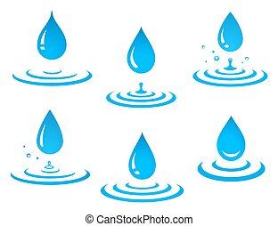 set of blue water drop and splash