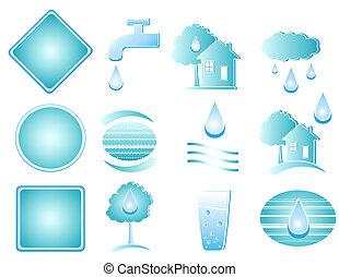 set of blue water object