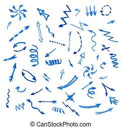 Set of blue watercolor arrows