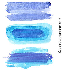 Set of blue watercolor brush strokes isolated on the white...