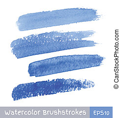 Set of Blue Watercolor Brush Strokes, vector illustration