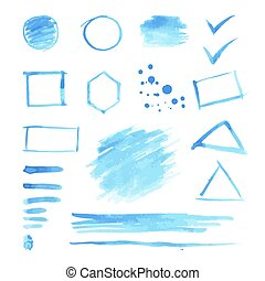 Set of blue watercolor spots and geometric shapes.