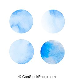 set of blue watercolor stains