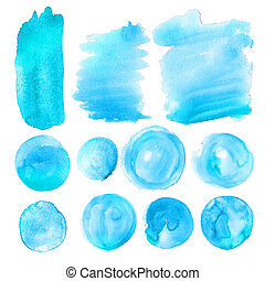 Set of blue watercolor stains.