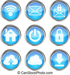 set of blue web icons on a white