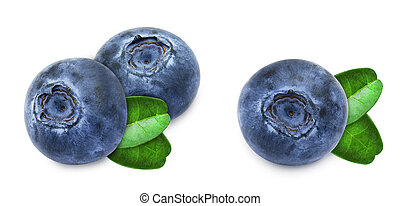 Set of blueberries with leaves