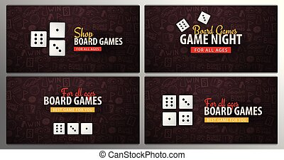 Set of Board Games banners with dices. Hand draw doodle background. Vector illustration.