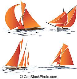 Set of boat with orange sails.