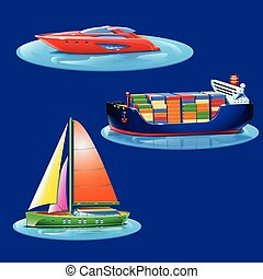 set of boats
