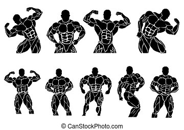 set of bodybuilding icons, vector