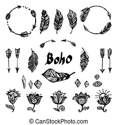 Set of boho elements. - Set of ethnic elements. Modern...