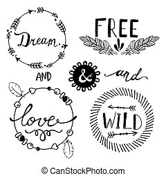 Set of Boho Style Frames and elements. Vector illustration.