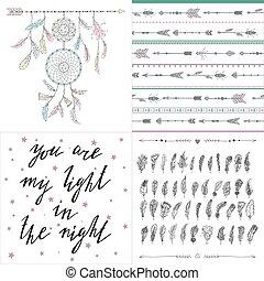Set of boho style illustrations, patterns, letterimg. Dream...