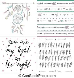 Set of boho style illustrations, patterns, letterimg. Dream catcher, arrows, feather, inspired words.