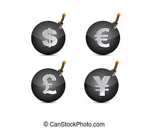 Set of bombs with currency-symbols illustration