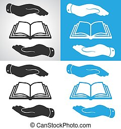set of book icon in flat hands - vector illustration