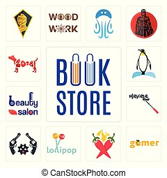 Set of book store, gamer, chili pepper, lollipop, revolver, mascara, beauty salon, penguin, year the dog icons