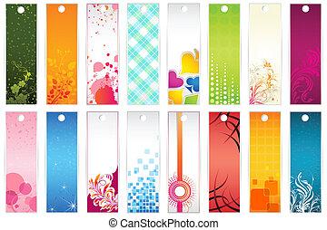 Set of Bookmark - illustration of set of colorful floral...
