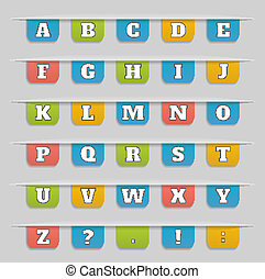 Set of bookmarks, stickers, labels, tags alphabet