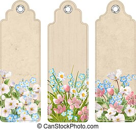 Set of Bookmarks with Flowers