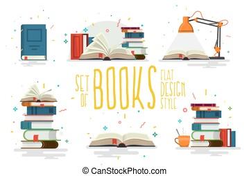 Set of books, flat design style.