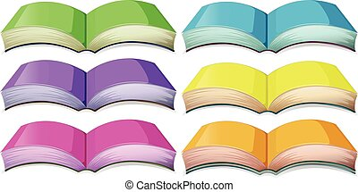Set of books in different colors