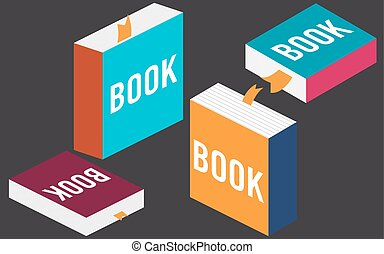 Set of books in flat design, vector
