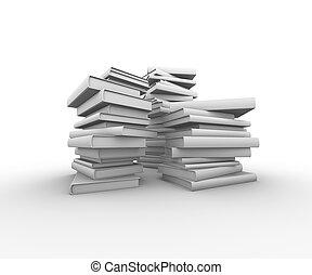 Set of books on white background.3D illustration