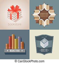 Set of bookstore, bookshop vector icon, logo