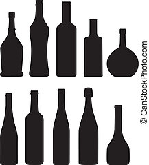 bottle - set of bottle silhouette