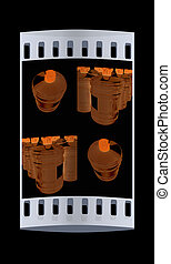 Set of bottle with clean blue water. The film strip
