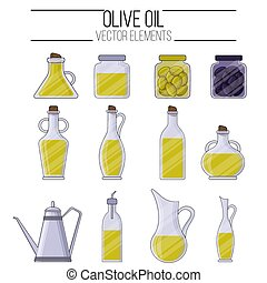 Set of bottles and jars with olive oil in cartoon style. Vector illustration for design, web and decor