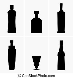 Set of bottles for absinthe, shade pictures
