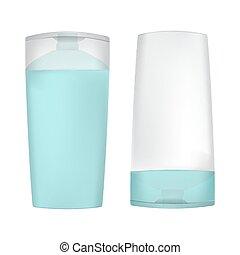 set of bottles for shampoo