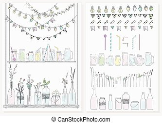 Set of bottles, jars, garlands, lamps and flags. Scandinavian style.