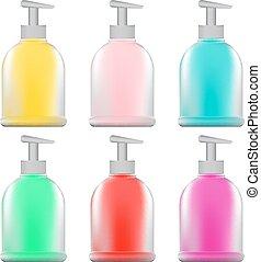 set of bottles with dispenser