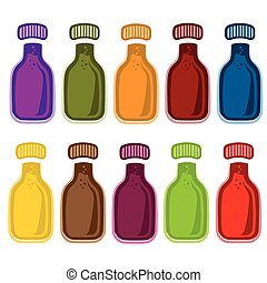 set of bottles with juice