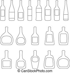 Set of bottles with labels, vector illustration