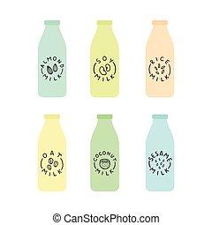 Set of bottles with plant based milk.