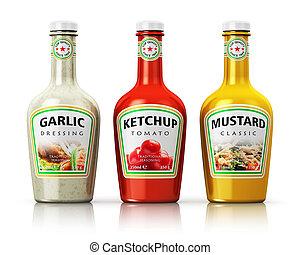Set of bottles with seasonings