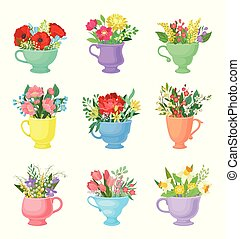 Set of bouquets in mugs. Vector illustration on white background.