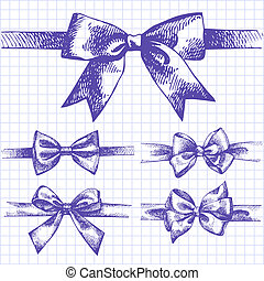 Set of bow. Hand drawn illustrations of ribbons