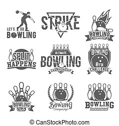 Set of  bowling emblems, labels, badges and designed elements