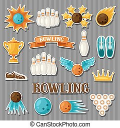 Set of bowling items. Objects for decoration, design on advertising booklets, banners, flayers