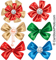 Set of Bows - Collection of different bows on white...