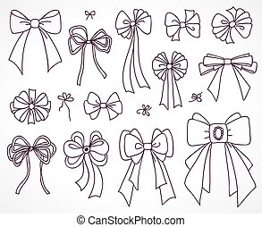 Set of bows for the design congratulatory cards, gifts, souvenirs. Drawing sketches